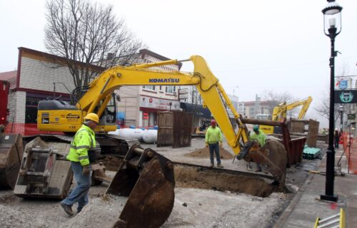 Construction crews begin work on West Main Street in Downtown Waukesha Tuesday, March 10, 2015. The road is closed to traffic but there is access to the businesses that line the construction project between Clinton Street and West Avenue.